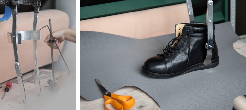 Aparelho longo com trancador suíço - ortotese por medida - KAFO - O-LAB - produção - graminho - medição - calçado por medida